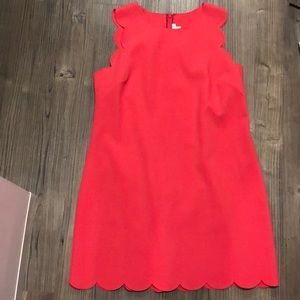 J Crew size 14 red scalloped dress